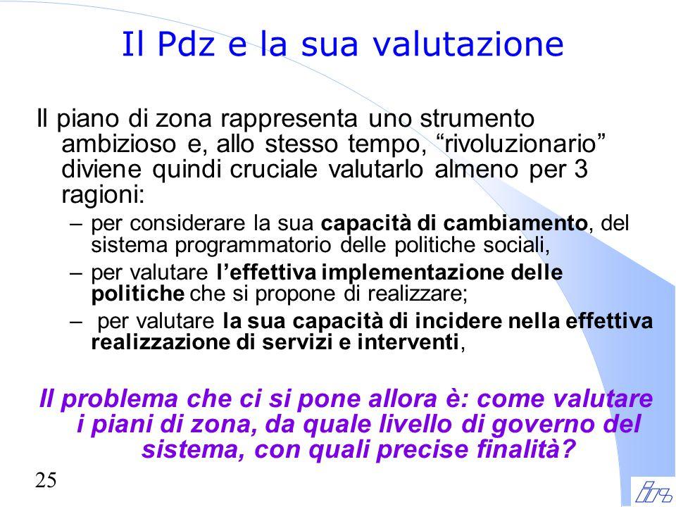 """25 Il Pdz e la sua valutazione Il piano di zona rappresenta uno strumento ambizioso e, allo stesso tempo, """"rivoluzionario"""" diviene quindi cruciale val"""
