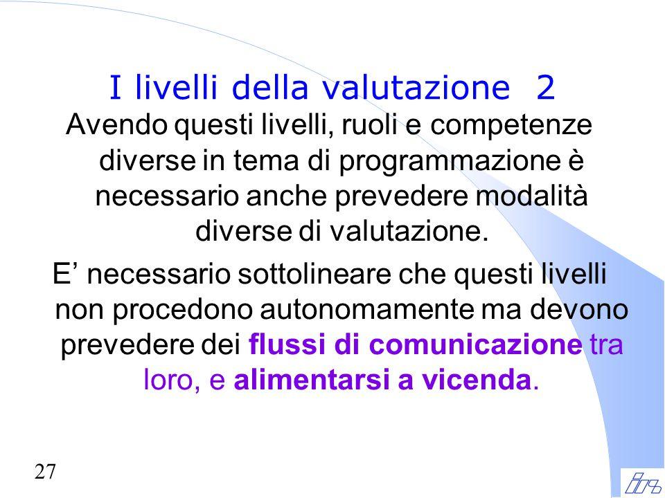 27 I livelli della valutazione 2 Avendo questi livelli, ruoli e competenze diverse in tema di programmazione è necessario anche prevedere modalità div