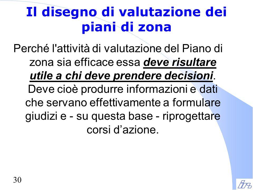 30 Il disegno di valutazione dei piani di zona Perché l'attività di valutazione del Piano di zona sia efficace essa deve risultare utile a chi deve pr