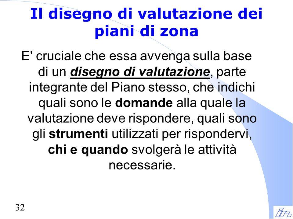 32 Il disegno di valutazione dei piani di zona E' cruciale che essa avvenga sulla base di un disegno di valutazione, parte integrante del Piano stesso
