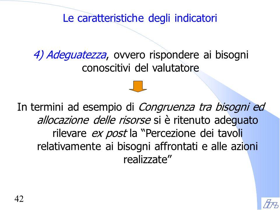 42 Le caratteristiche degli indicatori 4) Adeguatezza, ovvero rispondere ai bisogni conoscitivi del valutatore In termini ad esempio di Congruenza tra