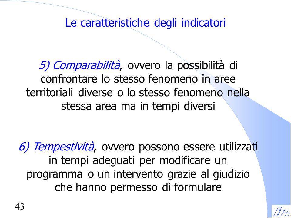 43 Le caratteristiche degli indicatori 5) Comparabilità, ovvero la possibilità di confrontare lo stesso fenomeno in aree territoriali diverse o lo ste