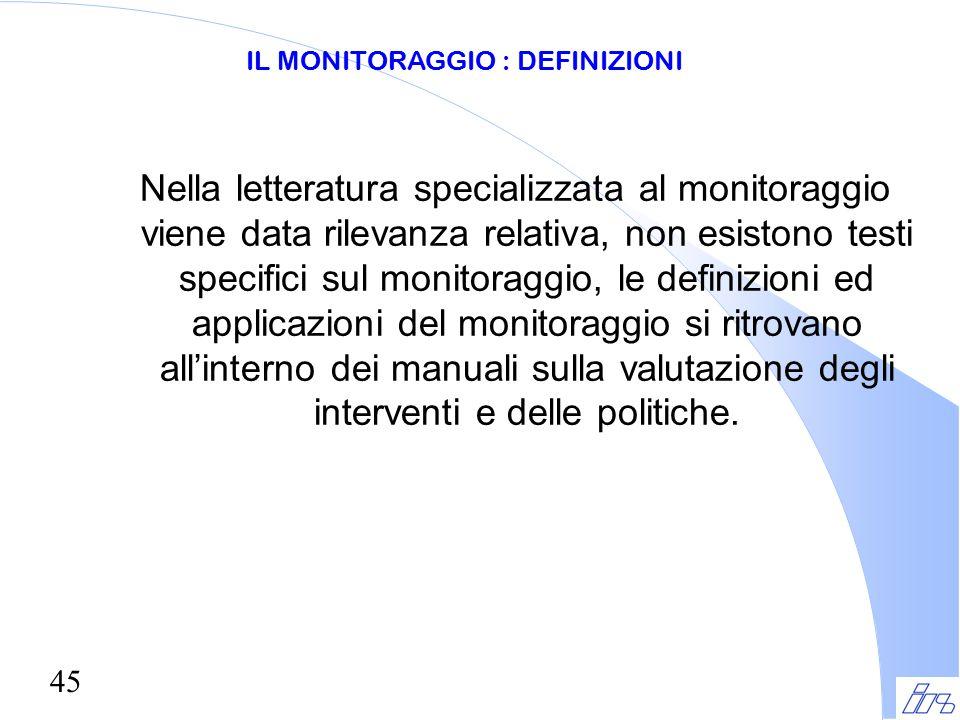 45 Nella letteratura specializzata al monitoraggio viene data rilevanza relativa, non esistono testi specifici sul monitoraggio, le definizioni ed app