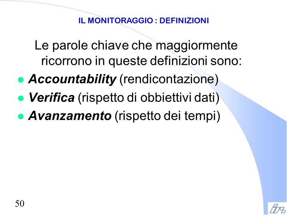 50 Le parole chiave che maggiormente ricorrono in queste definizioni sono: l Accountability (rendicontazione) l Verifica (rispetto di obbiettivi dati)