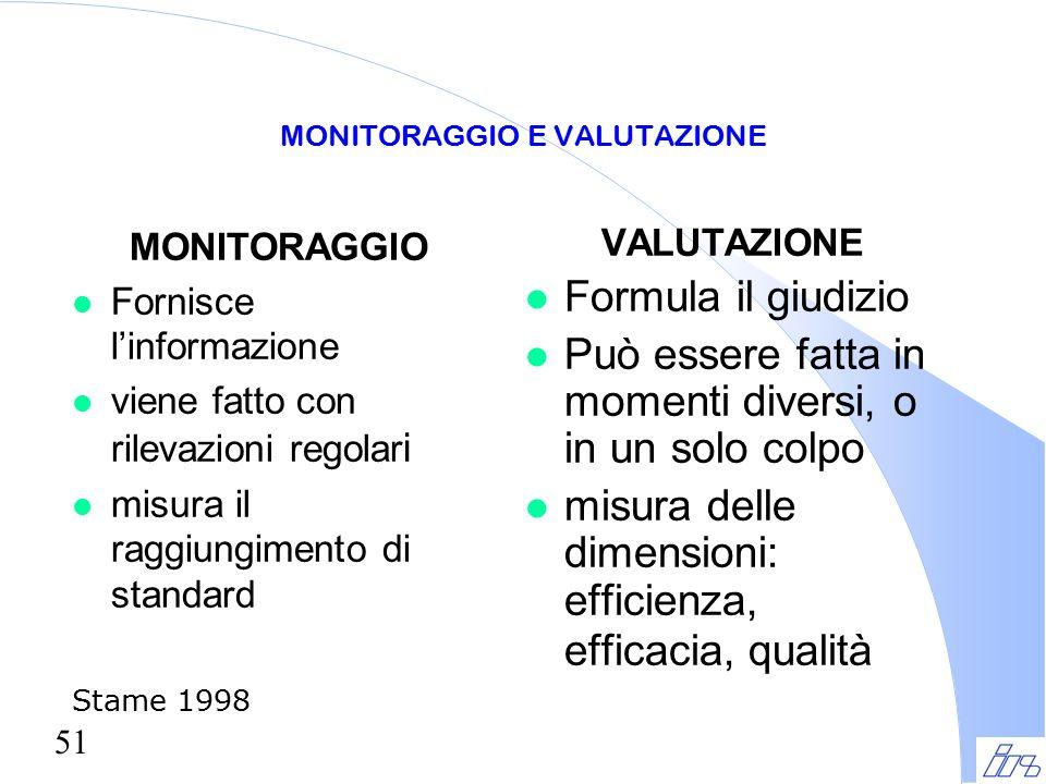 51 MONITORAGGIO E VALUTAZIONE MONITORAGGIO l Fornisce l'informazione l viene fatto con rilevazioni regolar i misura il raggiungimento di standard Stam