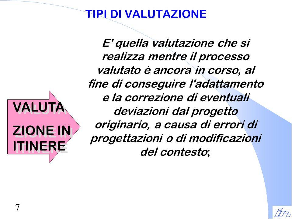 7 TIPI DI VALUTAZIONE VALUTA ZIONE IN ITINERE VALUTA ZIONE IN ITINERE E' quella valutazione che si realizza mentre il processo valutato è ancora in co