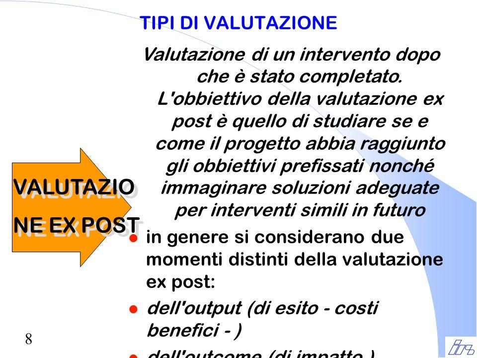8 TIPI DI VALUTAZIONE VALUTAZIO NE EX POST VALUTAZIO NE EX POST Valutazione di un intervento dopo che è stato completato. L'obbiettivo della valutazio