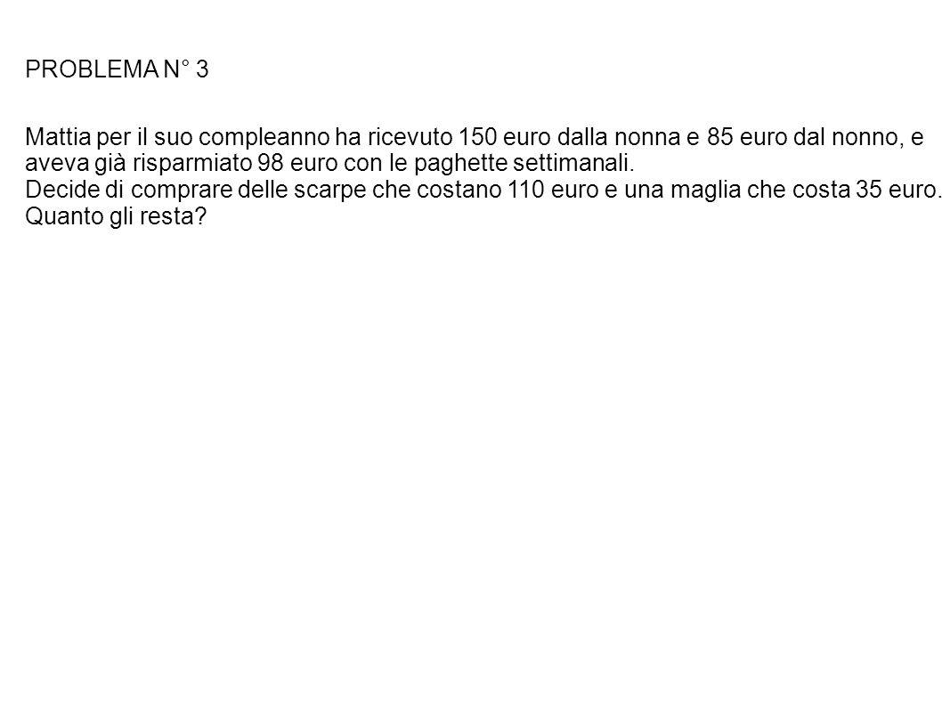 PROBLEMA N° 3 Mattia per il suo compleanno ha ricevuto 150 euro dalla nonna e 85 euro dal nonno, e aveva già risparmiato 98 euro con le paghette setti