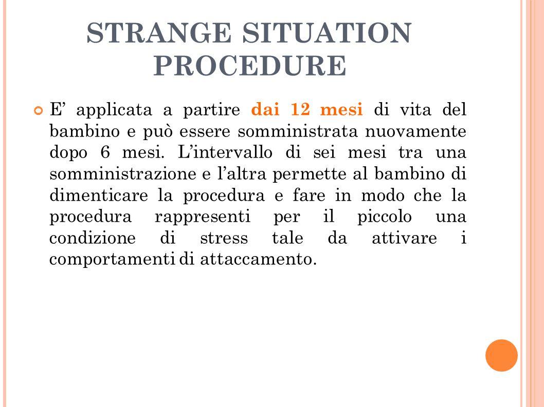 STRANGE SITUATION PROCEDURE E' applicata a partire dai 12 mesi di vita del bambino e può essere somministrata nuovamente dopo 6 mesi. L'intervallo di