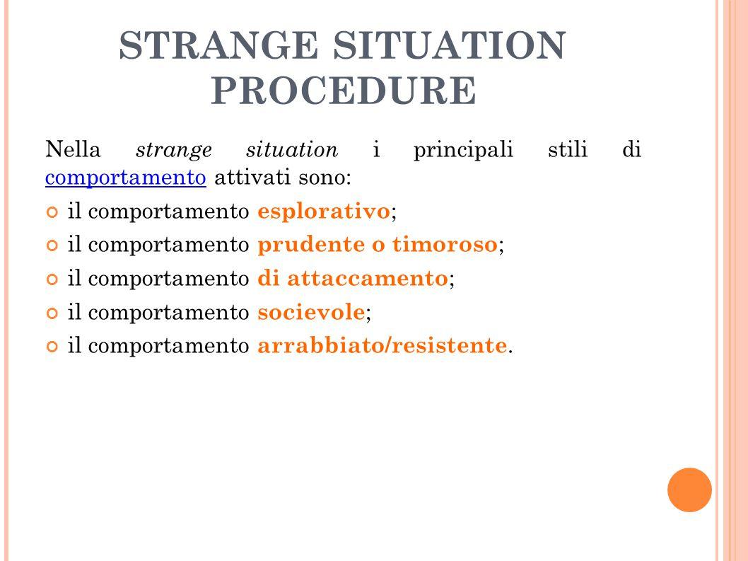 STRANGE SITUATION PROCEDURE Nella strange situation i principali stili di comportamento attivati sono: comportamento il comportamento esplorativo ; il