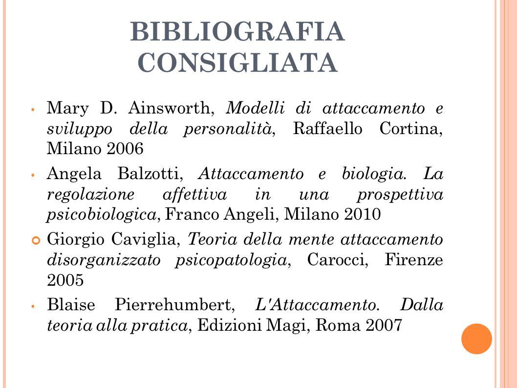 BIBLIOGRAFIA CONSIGLIATA Mary D. Ainsworth, Modelli di attaccamento e sviluppo della personalità, Raffaello Cortina, Milano 2006 Angela Balzotti, Atta