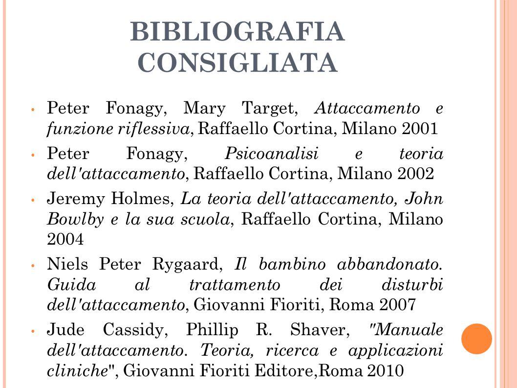 BIBLIOGRAFIA CONSIGLIATA Peter Fonagy, Mary Target, Attaccamento e funzione riflessiva, Raffaello Cortina, Milano 2001 Peter Fonagy, Psicoanalisi e te