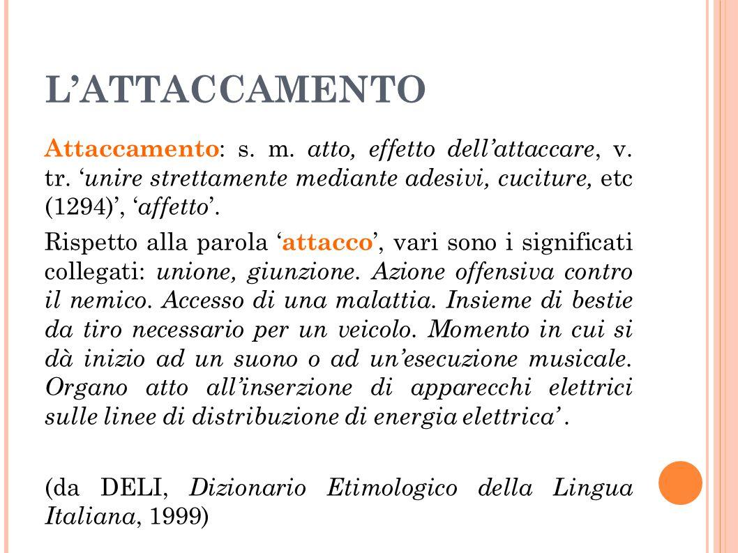 L'ATTACCAMENTO Attaccamento : s. m. atto, effetto dell'attaccare, v. tr. ' unire strettamente mediante adesivi, cuciture, etc (1294)', ' affetto '. Ri