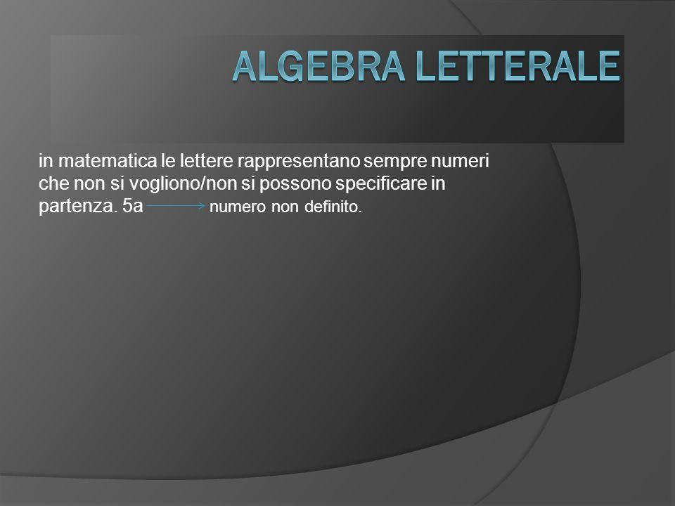 in matematica le lettere rappresentano sempre numeri che non si vogliono/non si possono specificare in partenza.