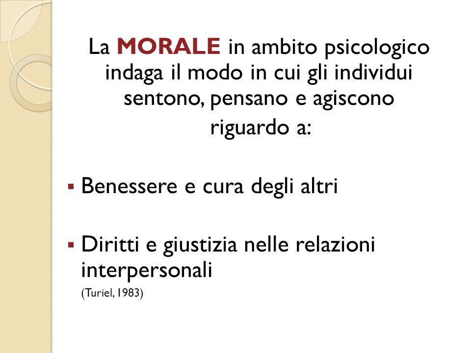 La MORALE in ambito psicologico indaga il modo in cui gli individui sentono, pensano e agiscono riguardo a:  Benessere e cura degli altri  Diritti e
