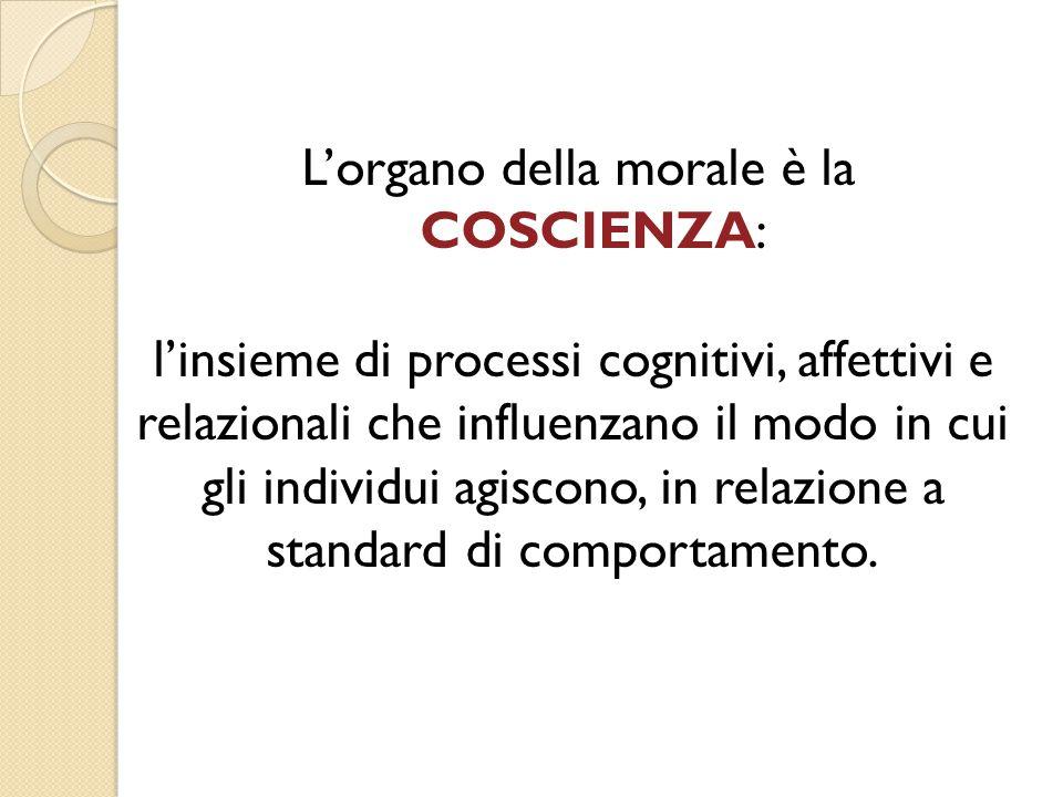 L'organo della morale è la COSCIENZA: l'insieme di processi cognitivi, affettivi e relazionali che influenzano il modo in cui gli individui agiscono,