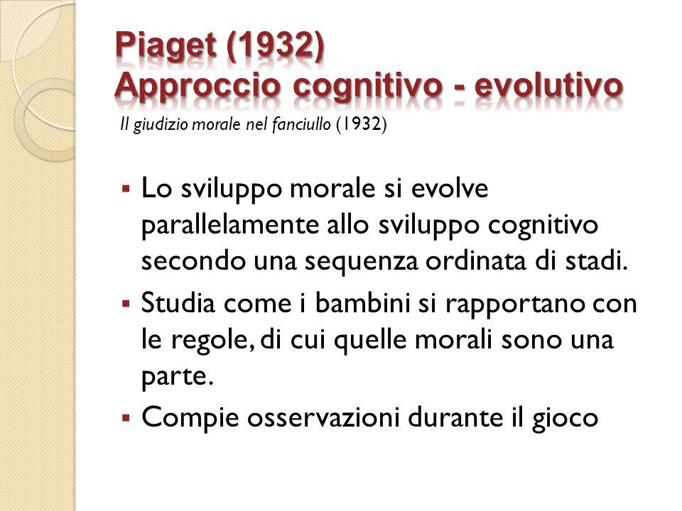 Il giudizio morale nel fanciullo (1932)  Lo sviluppo morale si evolve parallelamente allo sviluppo cognitivo secondo una sequenza ordinata di stadi.