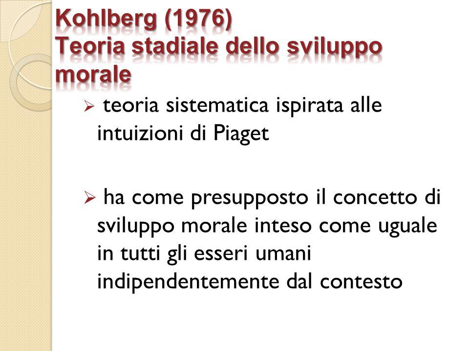  teoria sistematica ispirata alle intuizioni di Piaget  ha come presupposto il concetto di sviluppo morale inteso come uguale in tutti gli esseri um
