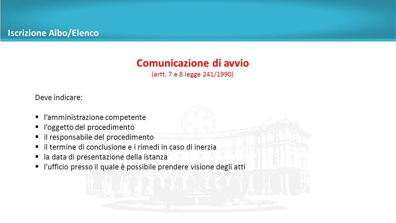 Comunicazione di avvio (artt.