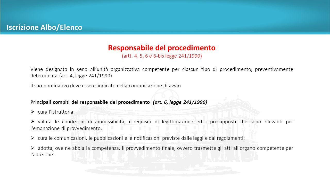 Responsabile del procedimento (artt.