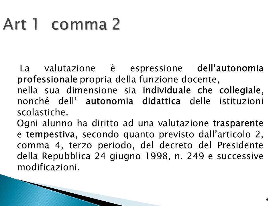 4 Art 1 comma 2 La valutazione è espressione dell'autonomia professionale propria della funzione docente, nella sua dimensione sia individuale che collegiale, nonché dell' autonomia didattica delle istituzioni scolastiche.