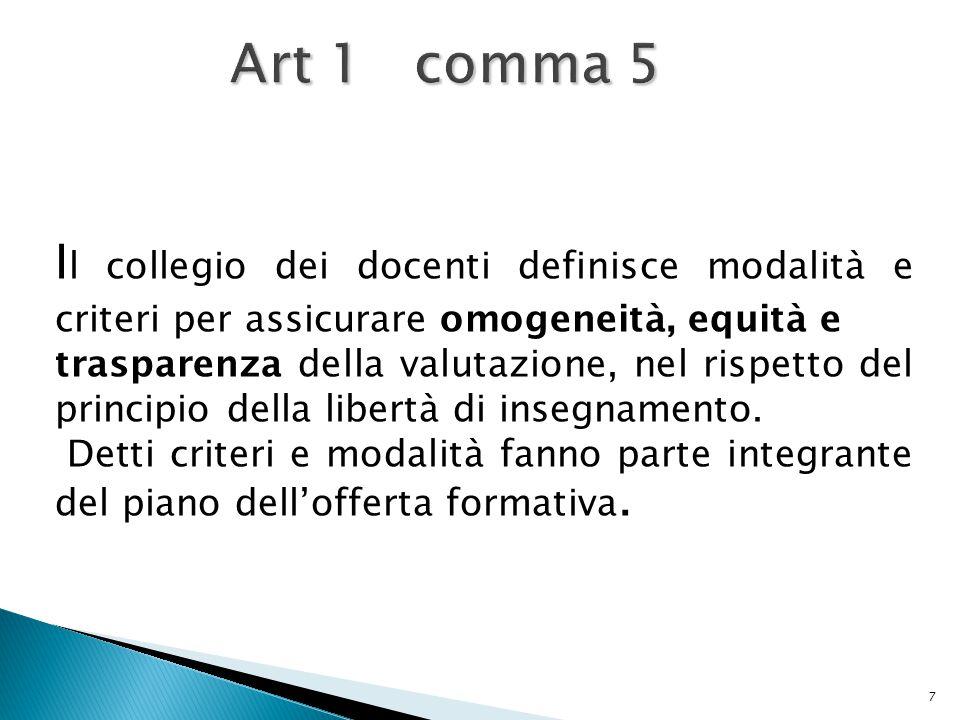 7 Art 1 comma 5 I l collegio dei docenti definisce modalità e criteri per assicurare omogeneità, equità e trasparenza della valutazione, nel rispetto