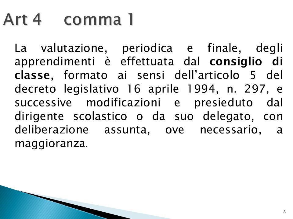 8 Art 4 comma 1 La valutazione, periodica e finale, degli apprendimenti è effettuata dal consiglio di classe, formato ai sensi dell'articolo 5 del dec