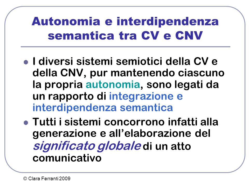 © Clara Ferranti 2009 Autonomia e interdipendenza semantica tra CV e CNV I diversi sistemi semiotici della CV e della CNV, pur mantenendo ciascuno la
