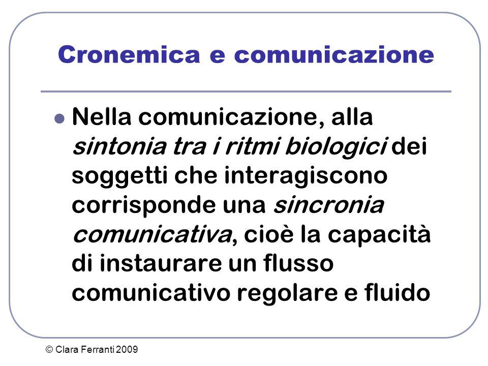 © Clara Ferranti 2009 Cronemica e comunicazione Nella comunicazione, alla sintonia tra i ritmi biologici dei soggetti che interagiscono corrisponde un