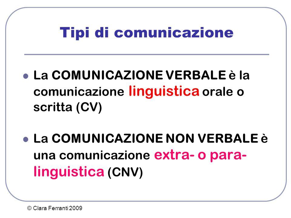 © Clara Ferranti 2009 Tipi di comunicazione La COMUNICAZIONE VERBALE è la comunicazione linguistica orale o scritta (CV) La COMUNICAZIONE NON VERBALE
