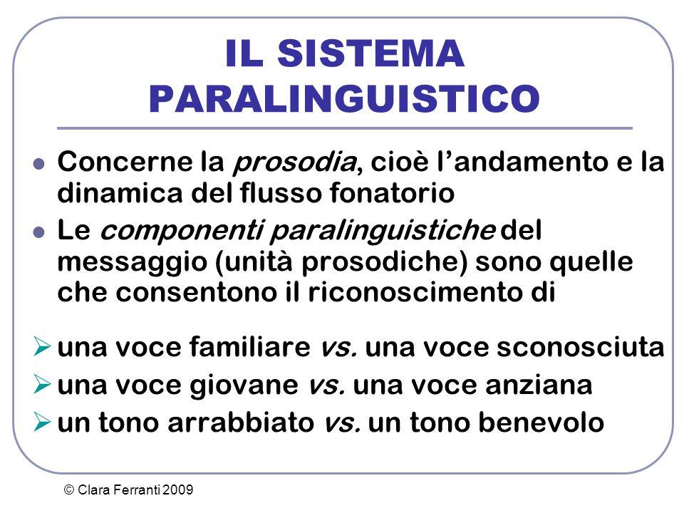 © Clara Ferranti 2009 IL SISTEMA PARALINGUISTICO Concerne la prosodia, cioè l'andamento e la dinamica del flusso fonatorio Le componenti paralinguisti