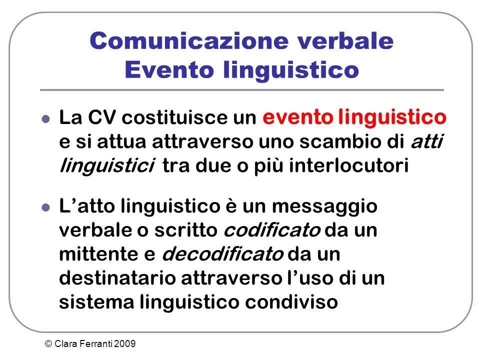 © Clara Ferranti 2009 Comunicazione verbale Evento linguistico La CV costituisce un evento linguistico e si attua attraverso uno scambio di atti lingu