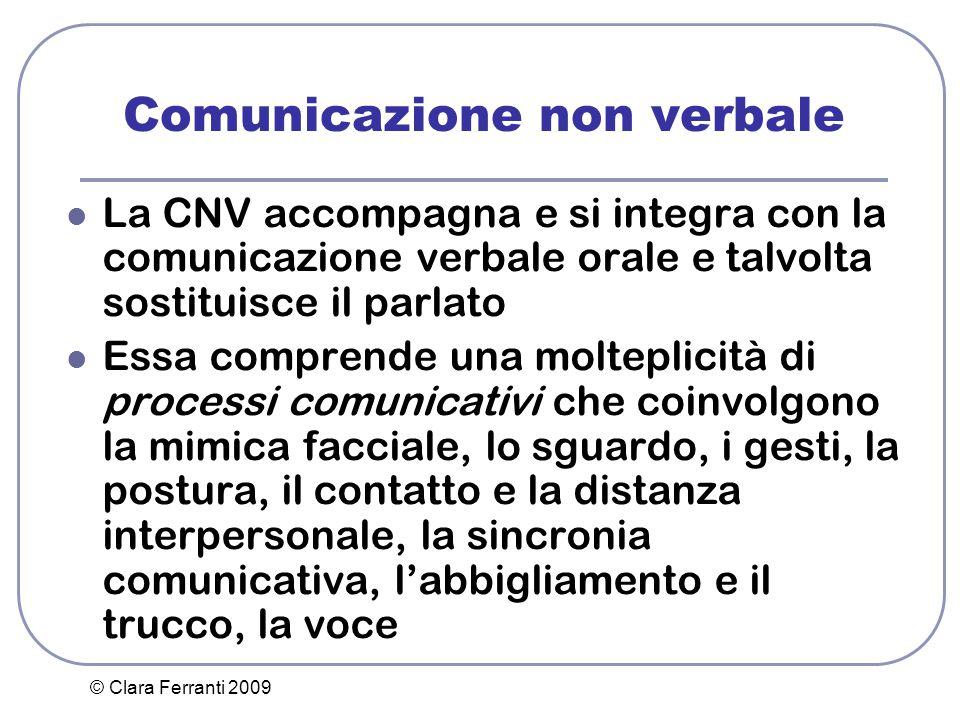 © Clara Ferranti 2009 Comunicazione non verbale La CNV accompagna e si integra con la comunicazione verbale orale e talvolta sostituisce il parlato Es