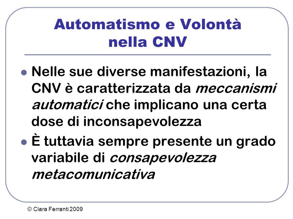© Clara Ferranti 2009 Automatismo e Volontà nella CNV Nelle sue diverse manifestazioni, la CNV è caratterizzata da meccanismi automatici che implicano