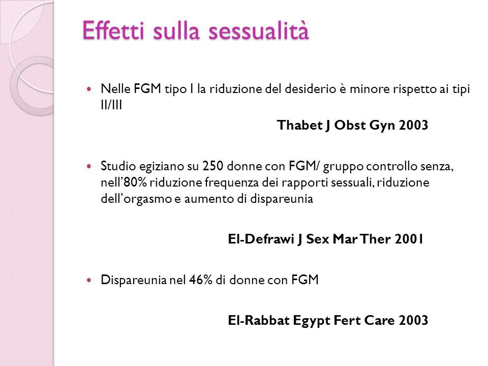 Effetti sulla sessualità Nelle FGM tipo I la riduzione del desiderio è minore rispetto ai tipi II/III Thabet J Obst Gyn 2003 Studio egiziano su 250 do