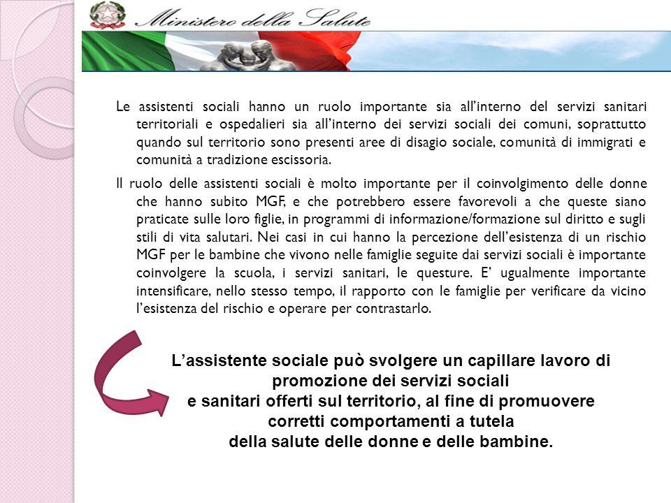 Le assistenti sociali hanno un ruolo importante sia all'interno del servizi sanitari territoriali e ospedalieri sia all'interno dei servizi sociali de