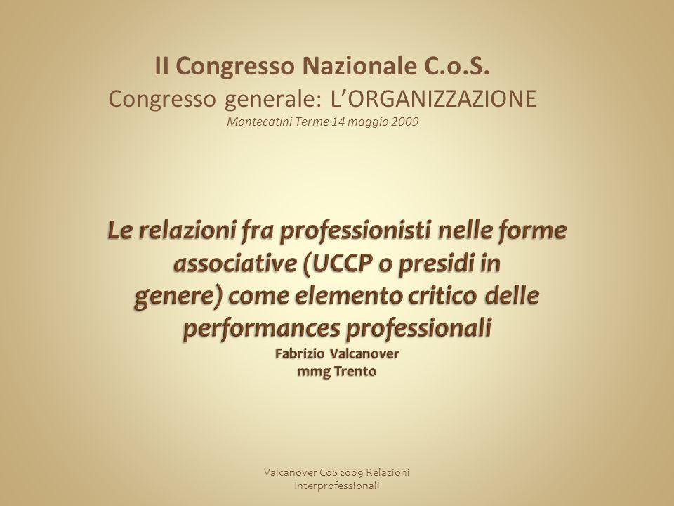 Valcanover CoS 2009 Relazioni Interprofessionali II Congresso Nazionale C.o.S.
