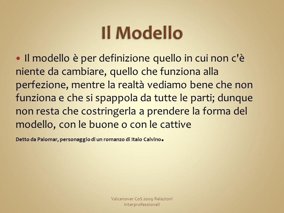 Il modello è per definizione quello in cui non c è niente da cambiare, quello che funziona alla perfezione, mentre la realtà vediamo bene che non funziona e che si spappola da tutte le parti; dunque non resta che costringerla a prendere la forma del modello, con le buone o con le cattive Detto da Palomar, personaggio di un romanzo di Italo Calvino.