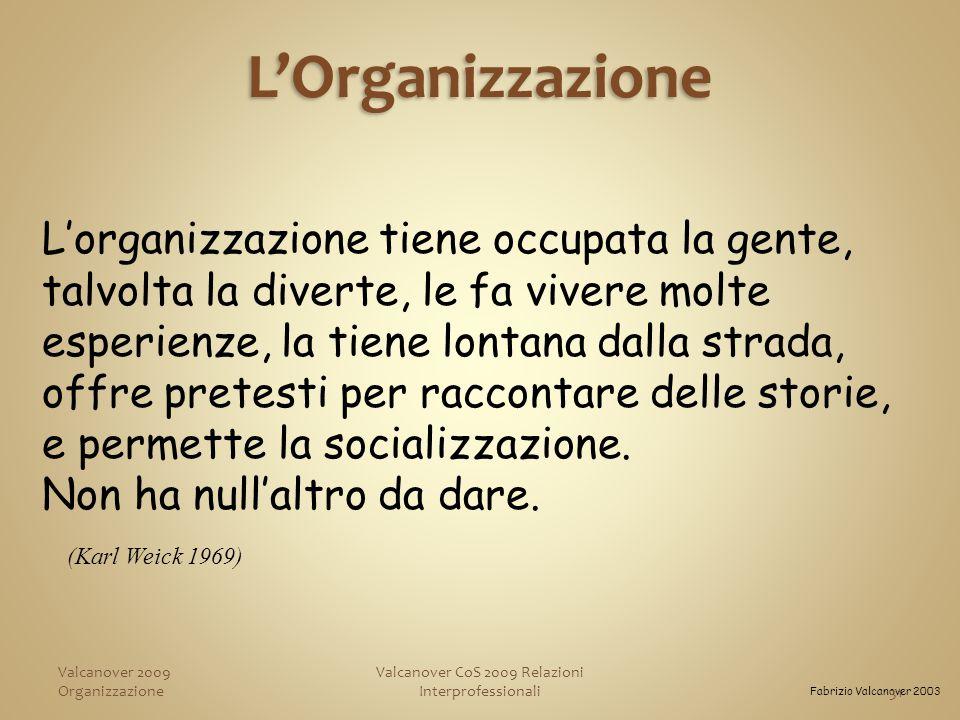 Valcanover CoS 2009 Relazioni Interprofessionali (Karl Weick 1969) L'organizzazione tiene occupata la gente, talvolta la diverte, le fa vivere molte esperienze, la tiene lontana dalla strada, offre pretesti per raccontare delle storie, e permette la socializzazione.