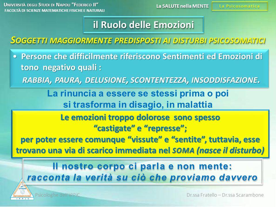 S OGGETTI MAGGIORMENTE PREDISPOSTI AI DISTURBI PSICOSOMATICI Persone che difficilmente riferiscono Sentimenti ed Emozioni di tono negativo quali : RAB