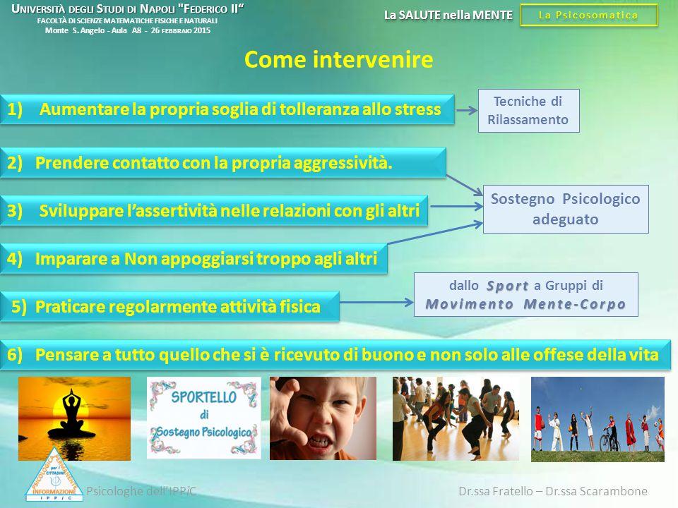 5) Praticare regolarmente attività fisica 1) Aumentare la propria soglia di tolleranza allo stress 3) Sviluppare l'assertività nelle relazioni con gli