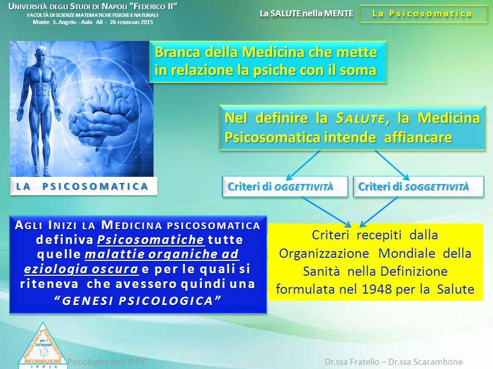 LA PSICOSOMATICA La SALUTE nella MENTE La Psicosomatica Psicologhe dell'IPPiC Dr.ssa Fratello – Dr.ssa Scarambone Branca della Medicina che mette in r