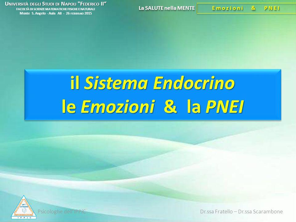 il Sistema Endocrino le Emozioni & la PNEI La SALUTE nella MENTE Emozioni & PNEI Psicologhe dell'IPPiC Dr.ssa Fratello – Dr.ssa Scarambone U NIVERSITÀ