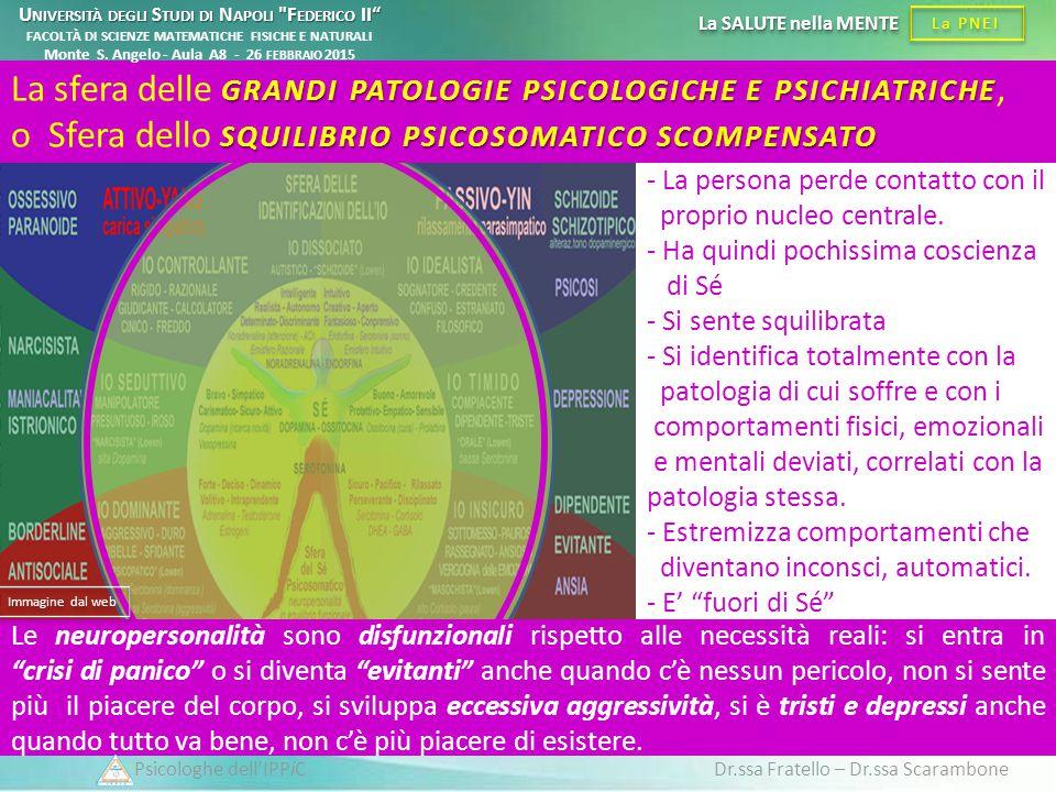 Psicologhe dell'IPPiC Dr.ssa Fratello – Dr.ssa Scarambone La PNEI La SALUTE nella MENTE - La persona perde contatto con il proprio nucleo centrale. -