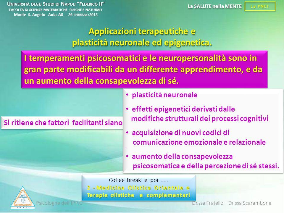 Psicologhe dell'IPPiC Dr.ssa Fratello – Dr.ssa Scarambone La PNEI La SALUTE nella MENTE Si ritiene che fattori facilitanti siano : Applicazioni terape