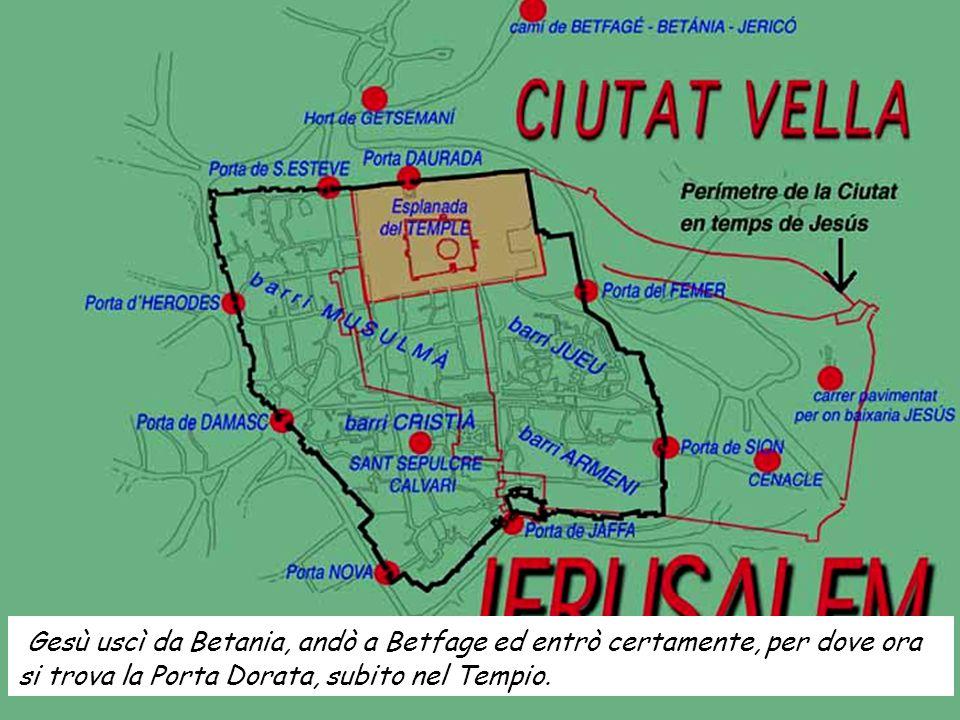 Gesù uscì da Betania, andò a Betfage ed entrò certamente, per dove ora si trova la Porta Dorata, subito nel Tempio.