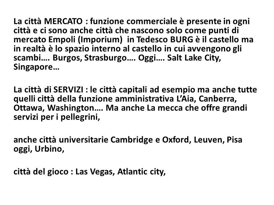 La città MERCATO : funzione commerciale è presente in ogni città e ci sono anche città che nascono solo come punti di mercato Empoli (Imporium) in Tedesco BURG è il castello ma in realtà è lo spazio interno al castello in cui avvengono gli scambi….