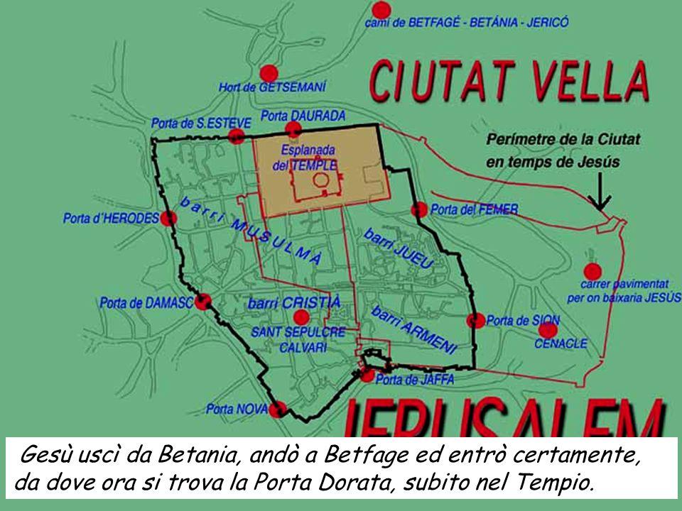 Gesù uscì da Betania, andò a Betfage ed entrò certamente, da dove ora si trova la Porta Dorata, subito nel Tempio.