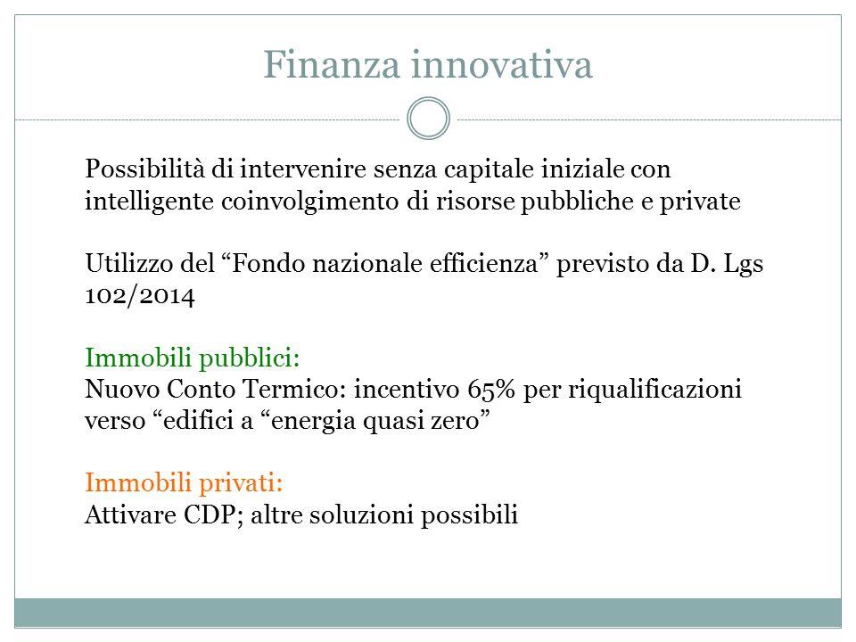 Finanza innovativa Possibilità di intervenire senza capitale iniziale con intelligente coinvolgimento di risorse pubbliche e private Utilizzo del Fondo nazionale efficienza previsto da D.