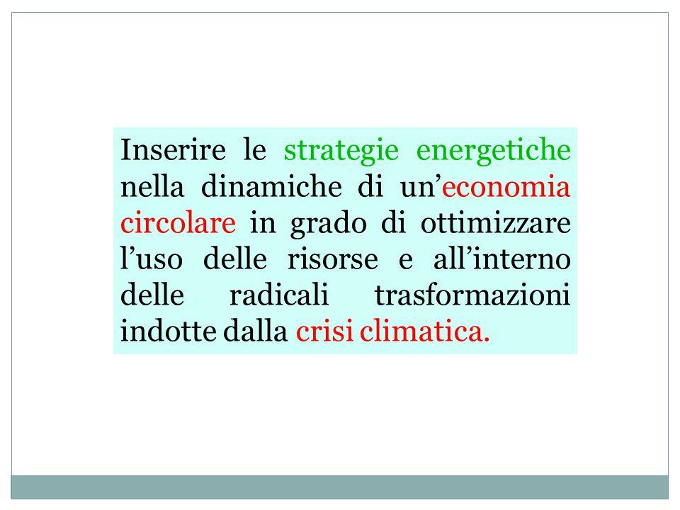 Inserire le strategie energetiche nella dinamiche di un'economia circolare in grado di ottimizzare l'uso delle risorse e all'interno delle radicali trasformazioni indotte dalla crisi climatica.